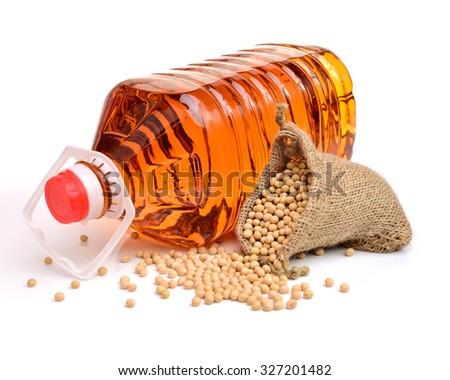Soya bean oil on white background - stock photo