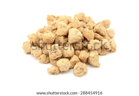 Soya protein chunks used in vegetarian and vegan food, isolated on a white background - stock photo