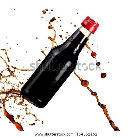 Soya sauce splash drops - stock photo