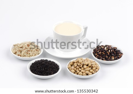 Soya, sesame seeds, soy and rice drinks ingredients healthy. - stock photo