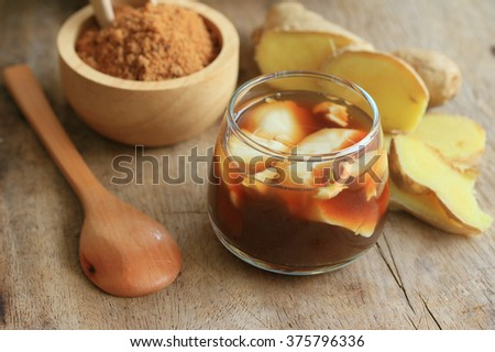 soybean curd and fresh ginger - stock photo