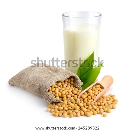Soybean milk with seed. Isolated on white backgraund. - stock photo