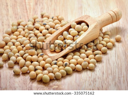 soybean on wooden background - stock photo