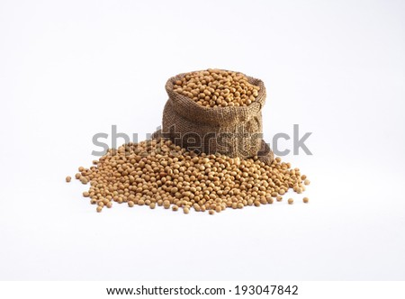 Soybeans in the sack isolated on white background  - stock photo