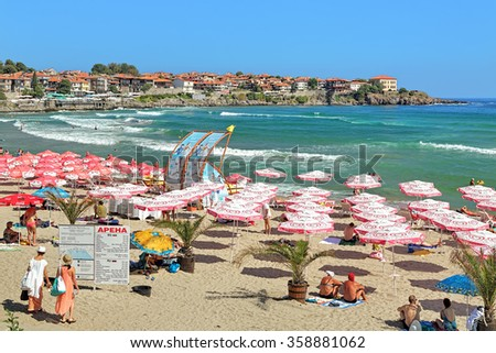 SOZOPOL, BULGARIA - SEPTEMBER 2, 2015: Central beach and view of the Old Town. Sozopol was founded in the 7th century BC by Greek colonists. Today it is one of the major seaside resorts in the country - stock photo