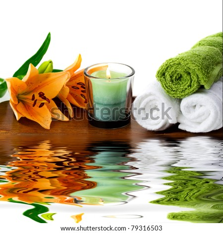 Spa accesories with water reflection - stock photo