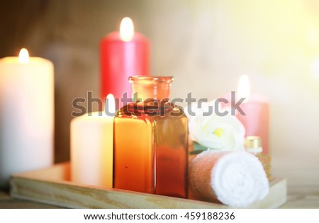 Spa accessories. candle and bottle