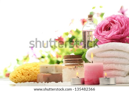 Spa and bath accessories with sponge,soap and towel. - stock photo
