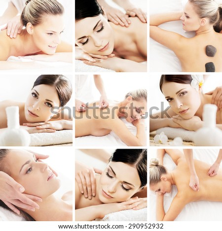 Spa and massage collage. Spa, rejuvenation, health care, healing and traditional medicine concept. - stock photo
