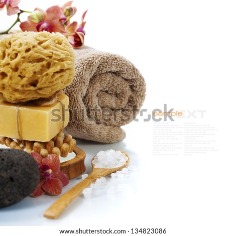 Spa and Wellness- bath brush, pumice stone, sponge, towel, orchid, sea salt and soap over white (with easy removable sample text) - stock photo