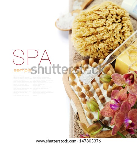 Spa and Wellness- bath brush, sponge, soap, towel, toothbrush and orchid over white (with easy removable sample text)  - stock photo