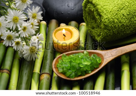 Spa and wellness-green towels, salt and salt on spoon, Daisy flowers on bamboo grove - stock photo