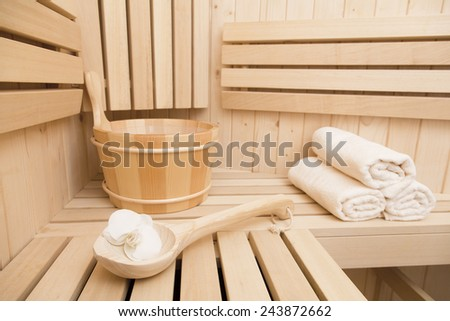 Spa and wellness items in sauna