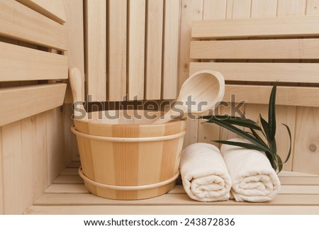 Spa and wellness items in sauna - stock photo