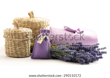 Spa and wellness setting with lavender flowers