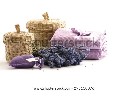 Spa and wellness setting with lavender flowers.  - stock photo