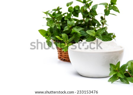 Spa and wellness setting with sea salt, oil essence, flowers and towels isolated. Relax and treatment therapy. White background. Selective focus. Close up. - stock photo