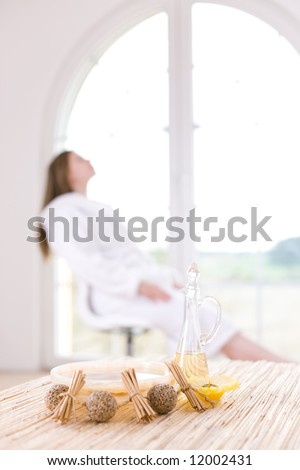 Spa at home - focus on the pure water and oil - stock photo