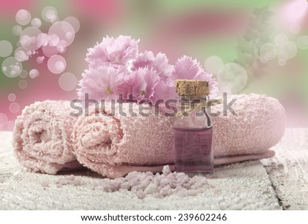 Spa background in the range of pink  and white. - stock photo