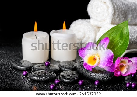 spa background of orchid dendrobium, green leaf Calla lily, candles, towels and beads on zen stones with drops - stock photo