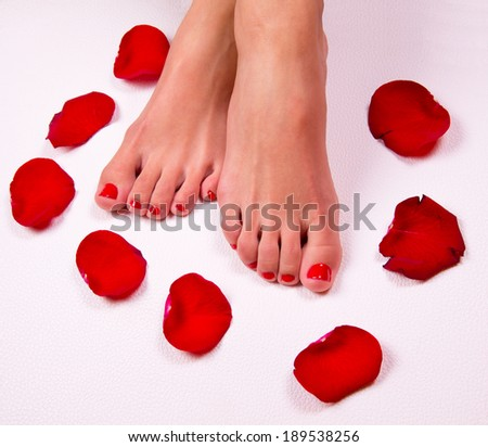 Spa background with a beautiful legs, flowers, petals - stock photo