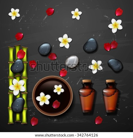 spa background with stone spa, bottle - stock photo