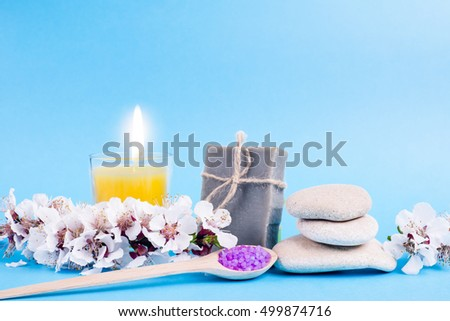 Spa bath cosmetic and flower branch. Soap beauty treatment background. Aromatherapy with natural salt, stones and bath bomb. Hygiene and relaxation for body. Luxury therapy