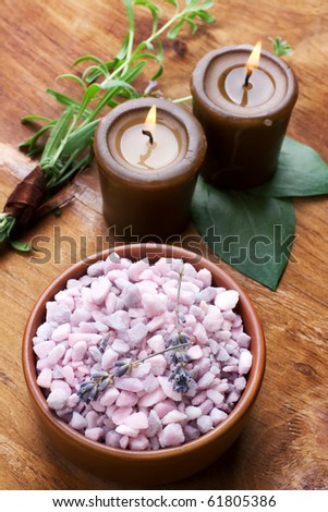 Spa bath salt, lavender with candle. Still life. - stock photo