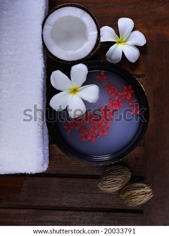 spa beauty exotic tropical flowers towels - stock photo