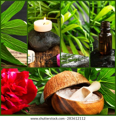 Spa Collage Composition of 5 Spa Photos with Scent Candles. Soft Towels and Aromatherapy on Wellness Background - stock photo