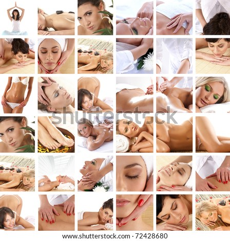 Spa collage made of many pictures - stock photo