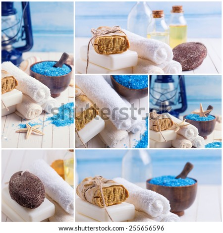 Spa collage. Set of photos of spa setting with soap, towels, sea salt on  painted wooden boards. Selective focus. - stock photo