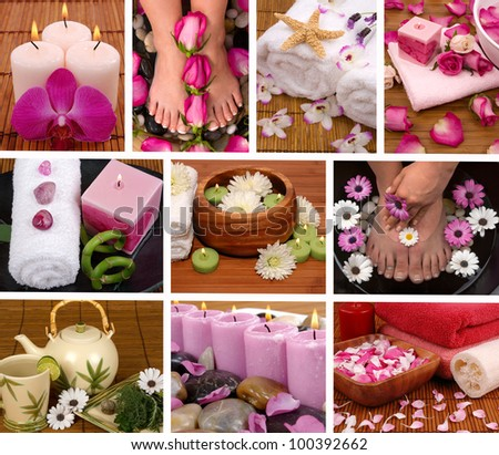 Spa collage with aromatherapy, pedicure and massage