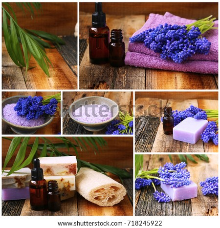 Spa collage with flowers, bath salt, wellness setting , candles and bath essential oil