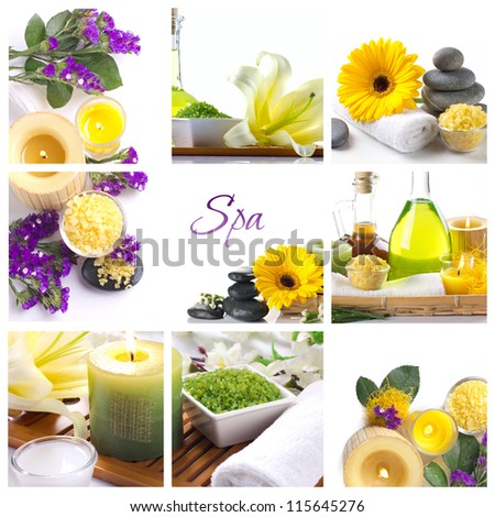 spa collage with flowers  in light colors - stock photo