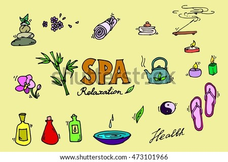 Spa colorful icons set. Relax.