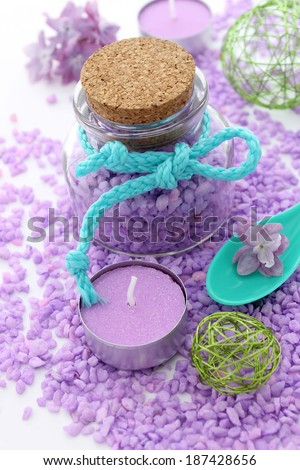 spa composition of bath salt and candle - stock photo