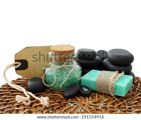 spa composition of soap, bath salt and stones - stock photo