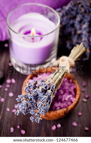 SPA composition with lavender, candle and sea salt - stock photo