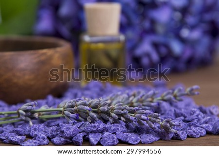 Spa composition with lavender oil - stock photo