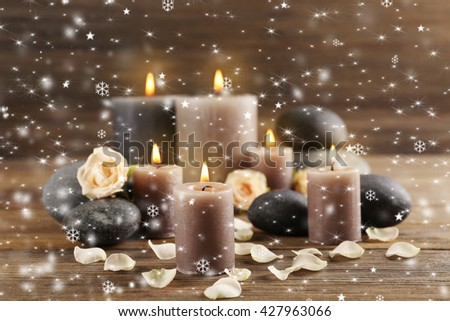 Spa composition with snow effect - stock photo
