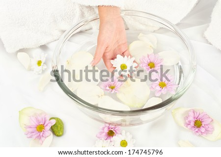 Spa composition, woman's hand holding flower - stock photo