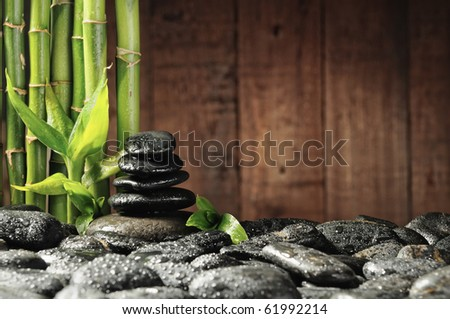 spa concept bamboo grove and black zen stones on the old wooden background - stock photo