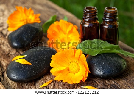 spa concept. essential oils of  marigolds - stock photo