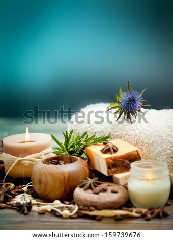 SPA concept: handmade soap with coffee beans, cinnamon and anise star - stock photo