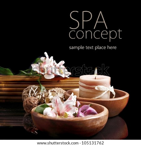 Spa concept in black - stock photo