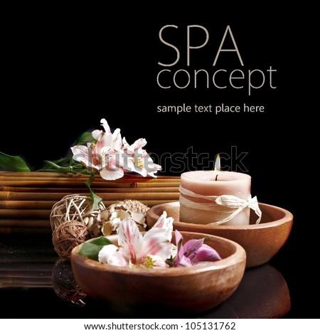 Spa concept in black - stock photo