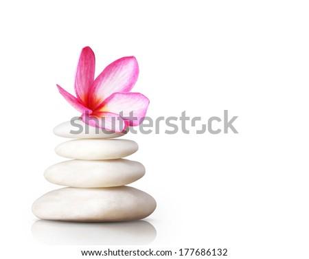 spa concept massage stones with frangipani plumeria flower  - stock photo