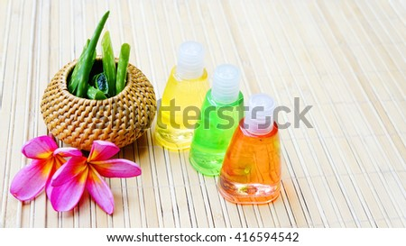 Spa concept of bottles of soap and aloe vera  - stock photo