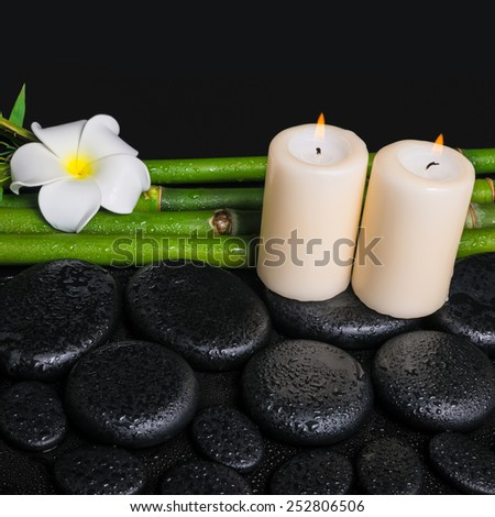 spa concept of zen basalt stones, white flower frangipani, candles and natural bamboo with dew, closeup  - stock photo